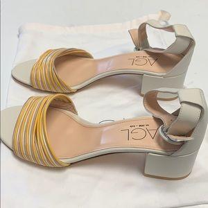 AGL white leather ankle strap sandal heel